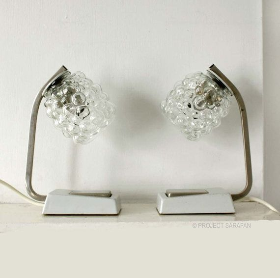 Minimalist Design 1970s Table Lamps. Clear Bubble Glass Lampshades.  Light Gray Bases, Silver Metal Detail. on Etsy, $241.97 CAD