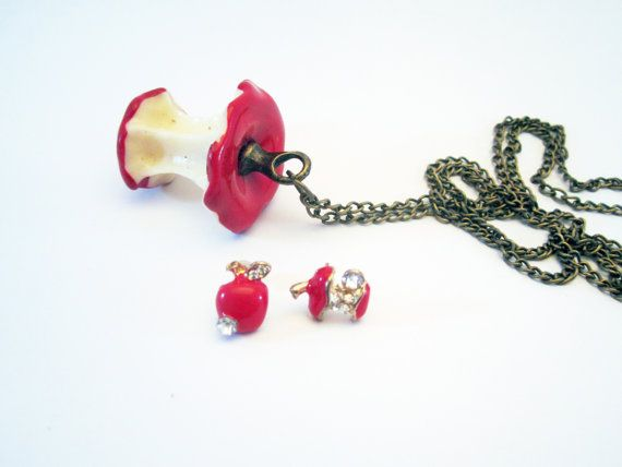 Red Core Apple Necklace & Earrings Set by NewUsedVintage on Etsy, $20.00