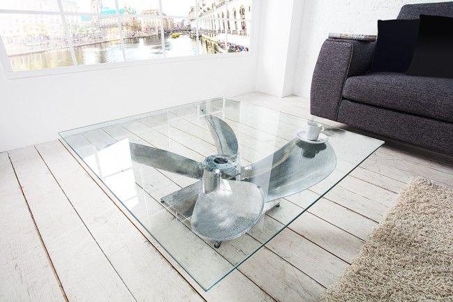 Exzellente Gestaltung! Couchtisch OCEAN mit imposanter Schiffsschraube und Glasplatte maritim,  Farbe:   Transparent|Silber,  Material:  Glas|Metall  // check out more --->  riess-ambiente.de