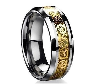 65% SPECIAL Wedding Band Gold Dragon Tungsten Carbide Celtic Game Mens Ring New