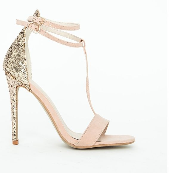 """Nude glitter heel Missguided nude t-strap with glittered heel. Double ankle strap. 4.5"""" heel. ❌Not Zara, listed as such for visibility. ❌ Zara Shoes Heels"""