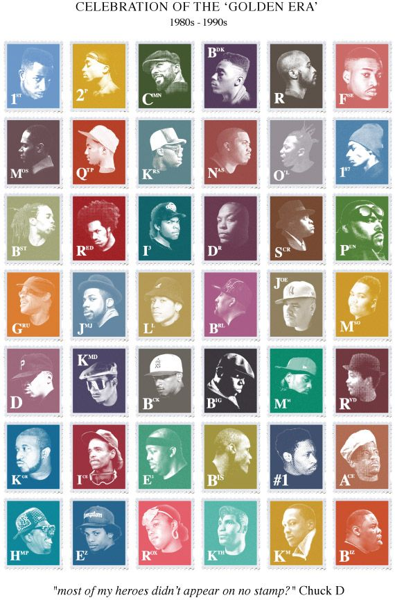 "Celebration of the 'Golden Era' 1980s - 1990s. ""Most of my heroes don't appear on no stamps"" - Chuck D."