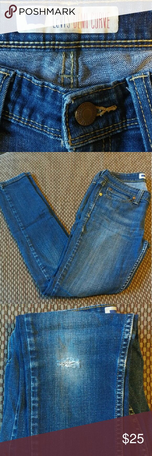 Levi DEMI CURVE Jeans Levi's DEMI CURVE Jeans size 7. These were very loved and they have a lot more love to give to their next owner! These have a knee tear on the right knee, but no other rips or tears elsewhere! These are a classic style jean and a style staple for your casual closet!  Make me an offer! I am negotiable! Levi's Jeans Skinny