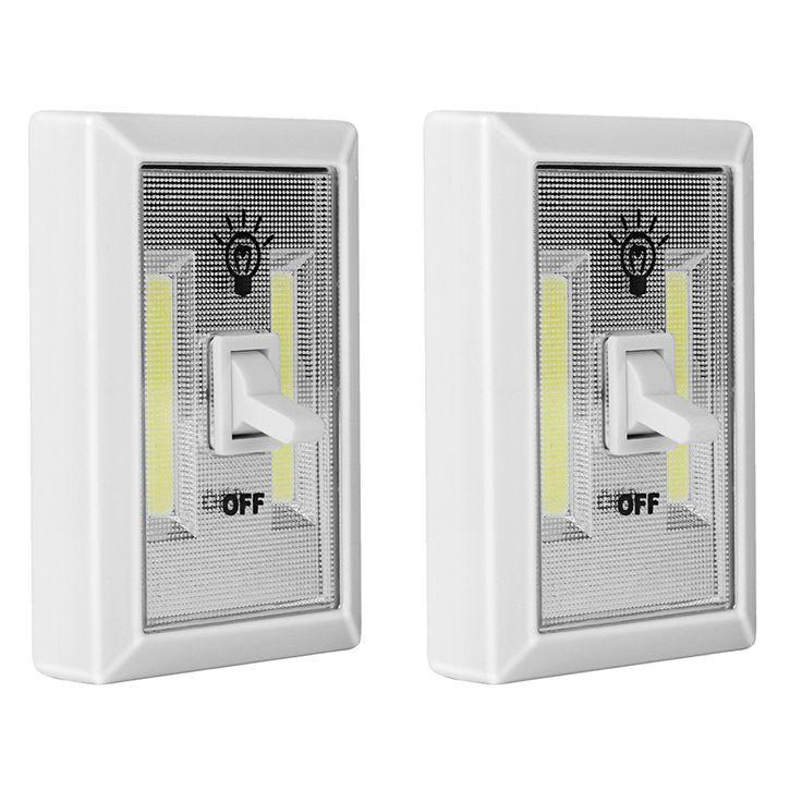 COB LED Light Switch 2PCS,PEMOTech Battery Operated Emergency Light,Closet Light,Wireless Light,Switch Night Light for Bedrooms,Closet,Dark Stairs,Basements,Cars,Pantry,Garage,Baby Nursery,RV, Camper