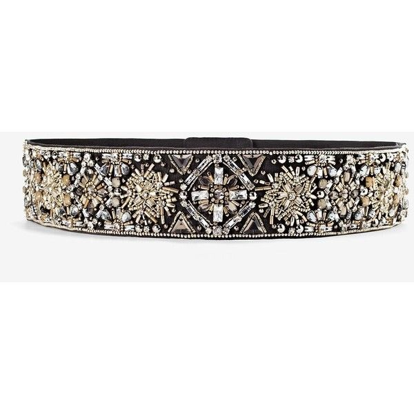 White House Black Market Metallic Beaded Stretch Belt ($89) ❤ liked on Polyvore featuring accessories, belts, wide belts, stretch belt, elastic belt, metallic belts and beaded stretch belt