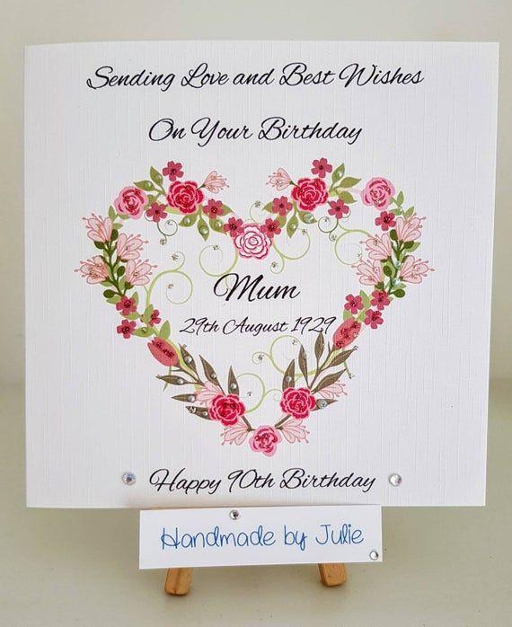 Beautiful Handmade Personalised Birthday Card For Mum 60th 70th 80th 90th 100th Pretty Flower Wreath With Birthday Date Any Age Made Birthday Cards For Mum Birthday Cards 60th