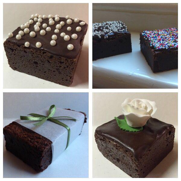 Wedding cake alternative - chocolate fudge brownies.