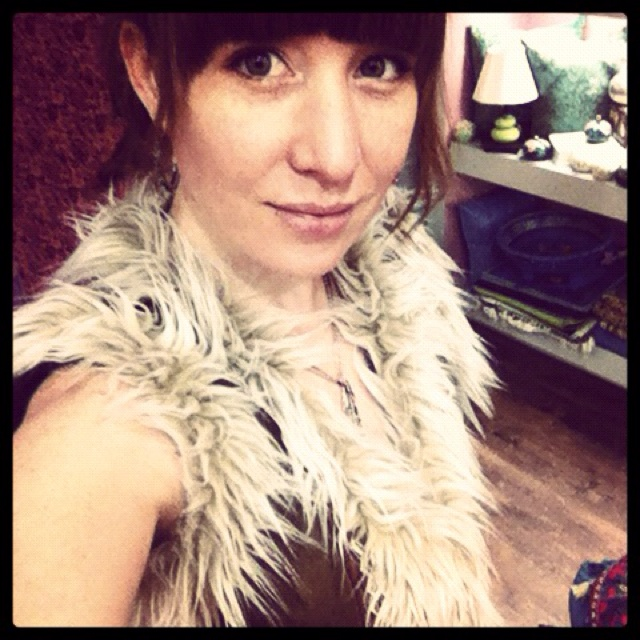 Myself wearing a favourite winter item, the Navaho vest. $120