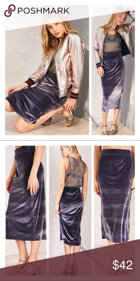 """Urban Outfitters Pull On Gray Velvet Column Skirt Slinky velvet bodycon midi skirt in an easy pull-on design by Silence + Noise. In soft stretch velvet with a curve-hugging fit topped with an elastic-banded high-waist. Polyester, elastane. Machine wash. Measurements taken from size Small. Waist: 27"""". Length: 32"""". Purchased from Urban Outfitters. Color: dark gray. Urban Outfitters Skirts Midi"""