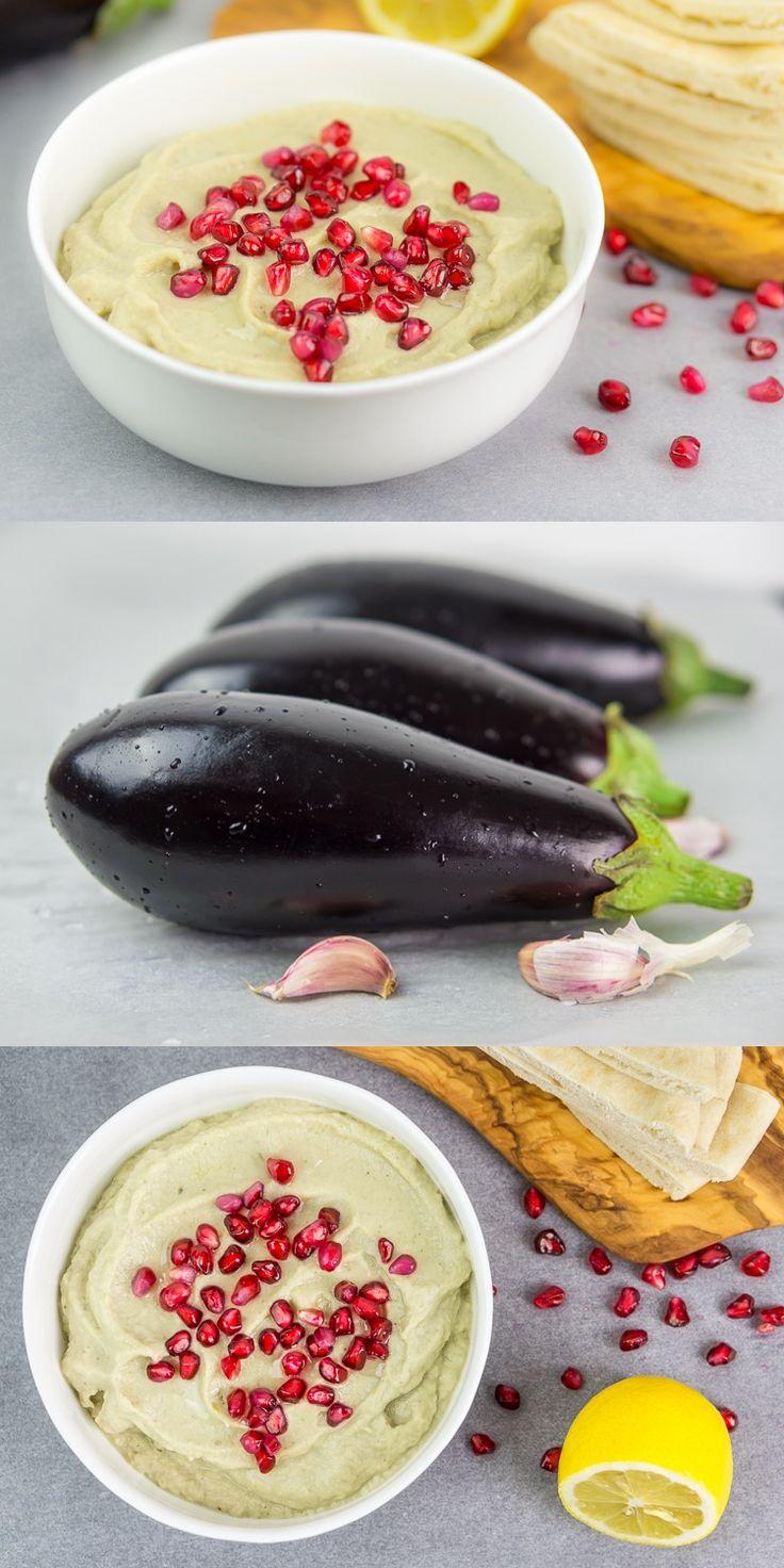 Baba ganoush – with tahini paste, fresh garlic, lemon juice and olive oil.