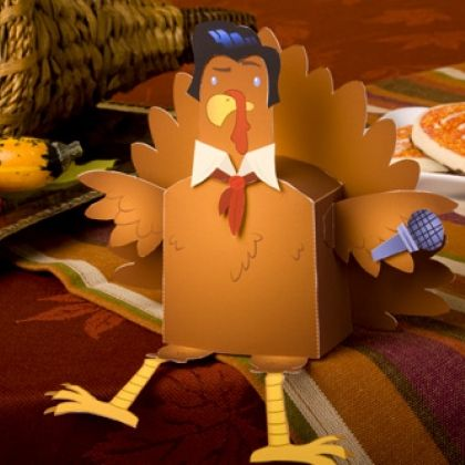 Cute printable turkey wears different disguises to avoid getting eaten!