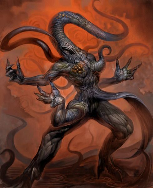 """Nyarlathotep, known to many by his epithet The Crawling Chaos, is an Outer God in the Cthulhu Mythos. He is the spawn of Azathoth. He is the creation of H. P. Lovecraft and first appeared in his prose poem """"Nyarlathotep"""" (1920). Nyarlathotep appears in numerous subsequent stories by Lovecraft, and is also featured in the works of other authors, as well as in role-playing games based on the Cthulhu Mythos."""