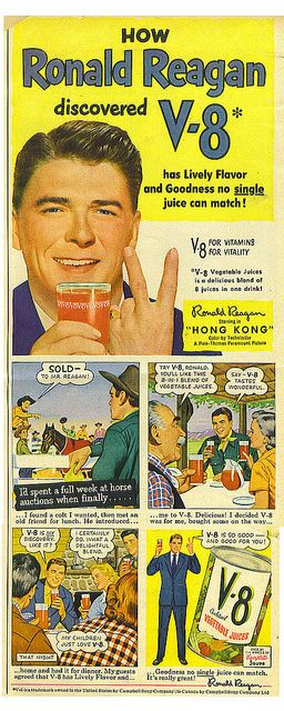 Ronald Reagan V-8 ad by Tommer G, via Flickr                                                                                                                                                                                 More