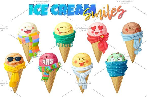 Cute cartoon icecream characters by Ann-zabella on @creativemarket