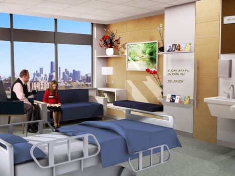 Patient room with family area, bench seating, shelves for personal items