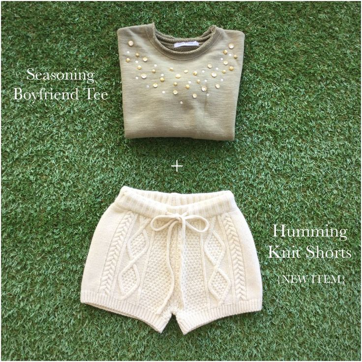 Casual look with Seasoning Boyfriend Tee @Peach&Cream and Humming Knit Shorts for the autumn season.