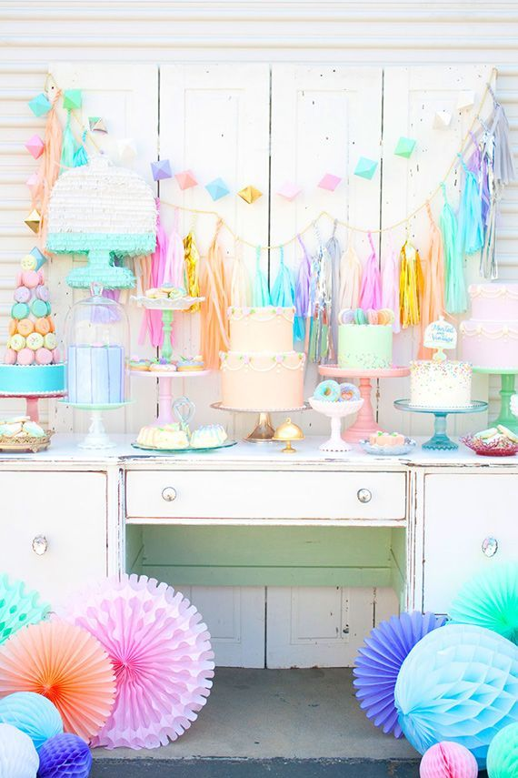 Love the bright colors and decorations for this festive and whimsical dessert table #wedding #weddingdessert #desserttable #weddingdecor #whimsical
