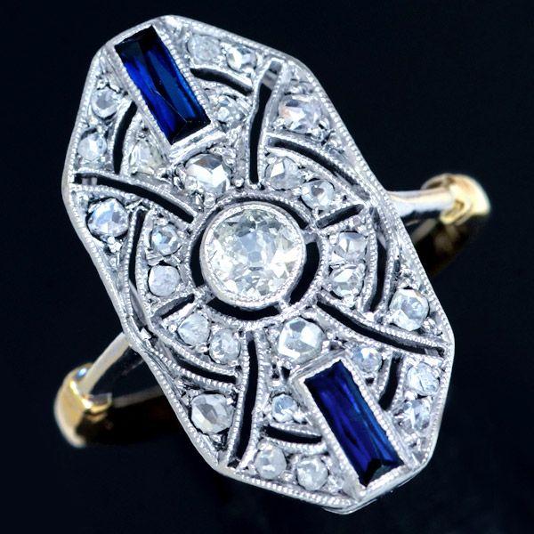 アールデコリング。オールドカットダイヤ、合成サファイア、18K。サイズ9 重さ3.0g 縦幅21.3mm