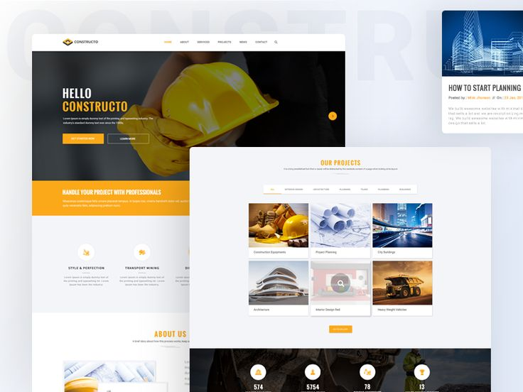 Construction Firm Website Concept by Kazi Mohammed Erfan
