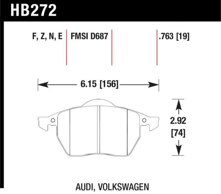 Hawk 2000-2006 Audi TT/TT Quattro/ 1999-2010 VW Beetle/ 1996-2004 Golf GTI/ 1996-1999 Jetta GLX w/ One Squared End Sensor HPS Street Front Brake Pads