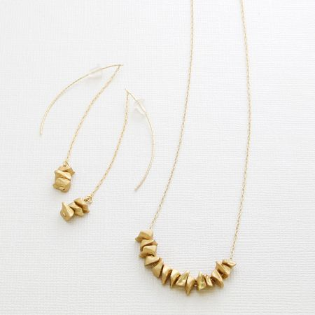 Simple Gold Bead Earrings & Necklace