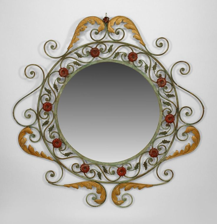 French Victorian Style Cent) Green Painted Iron Wall Mirror With Scroll  Design And Red U0026 Gold Leaf Trim (matching Console Table Inv.