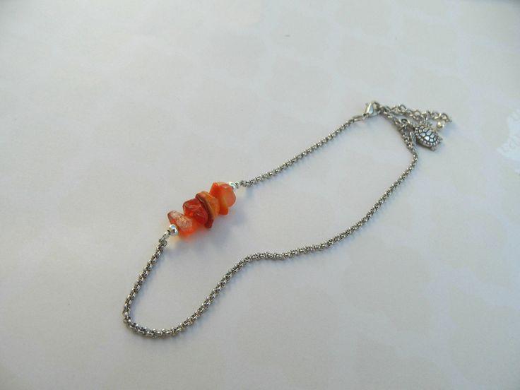 chaîne de cheville bohème agate chips orange : Chaines par twins-mum
