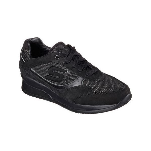Women's Skechers Wedge Fit Vita Sneaker - Black Casual ($62) ❤ liked on Polyvore featuring shoes, sneakers, black, casual, casual shoes, wedge heel sneakers, wedge sneakers, metallic wedge sneakers, metallic oxfords and black shoes