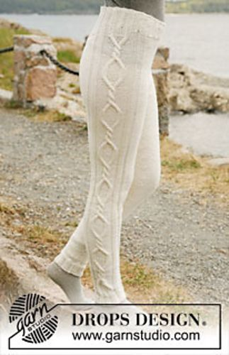 """Ravelry: 131-6 """"Mermaid"""" - Tights with cables in """"Karisma"""" pattern by DROPS design"""