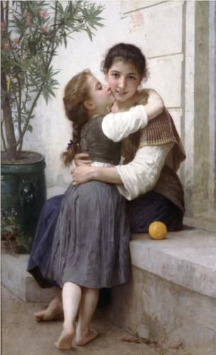 Artist: William-Adolphe Bouguereau. Title: A Little Coaxing. Completion Date: 1890. Style: Realism.