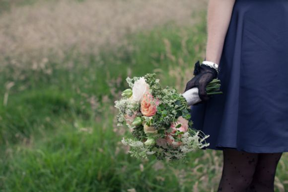 A Peach Rose and Black Dahlia Floral Crown For a Scottish Castle Wedding...