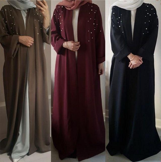 #hijab fashion 2018 Абаи Мусульманская одежда для Для женщин взрослых Новый стиль мусульманских ручной работы Перл бисера Сексуальная Ближний Восток платье a685
