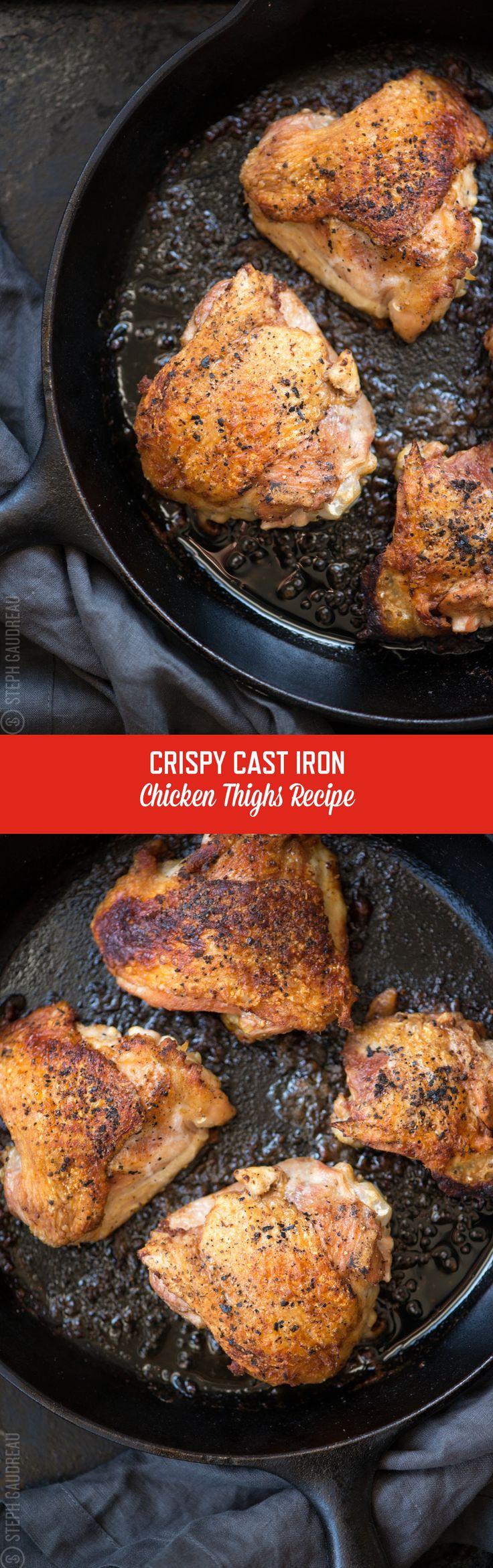 Cast Iron Skillet Chicken Thighs Recipe | StupidEasyPaleo.com
