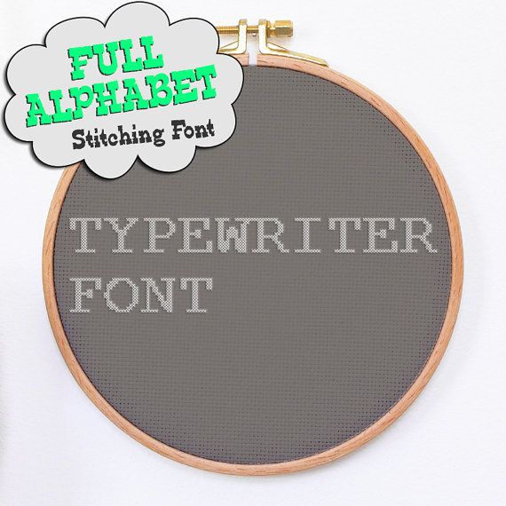 TYPEWRITER modern simple cross stitch font 2 sizes modern typo font pattern alphabet with numbers and special characters embroidery hoop art