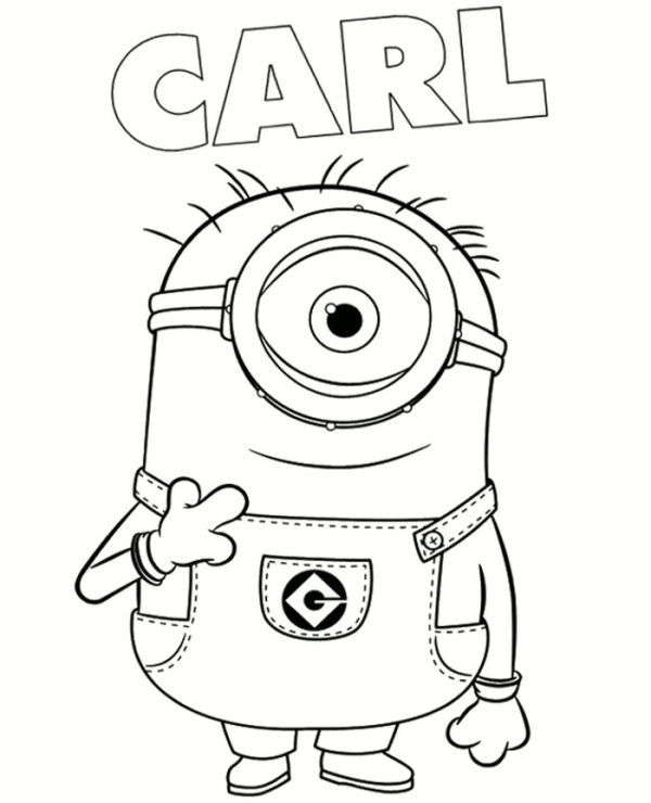 Minion Carl Coloring Page To Print For Free Minion Coloring Pages, Minions  Coloring Pages, Cartoon Coloring Pages
