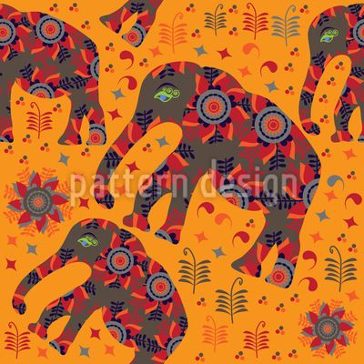 Indian Elephant Mountain Hike Vector Pattern   #flowers #floral #seamless #pattern #doodle #elephants #elefant #african #indian #asian #animals #RF #vector  #flora #fauna #nature #abstract #cartoons #garden #summer #spring #tile #tileable #background #texture #print #textile