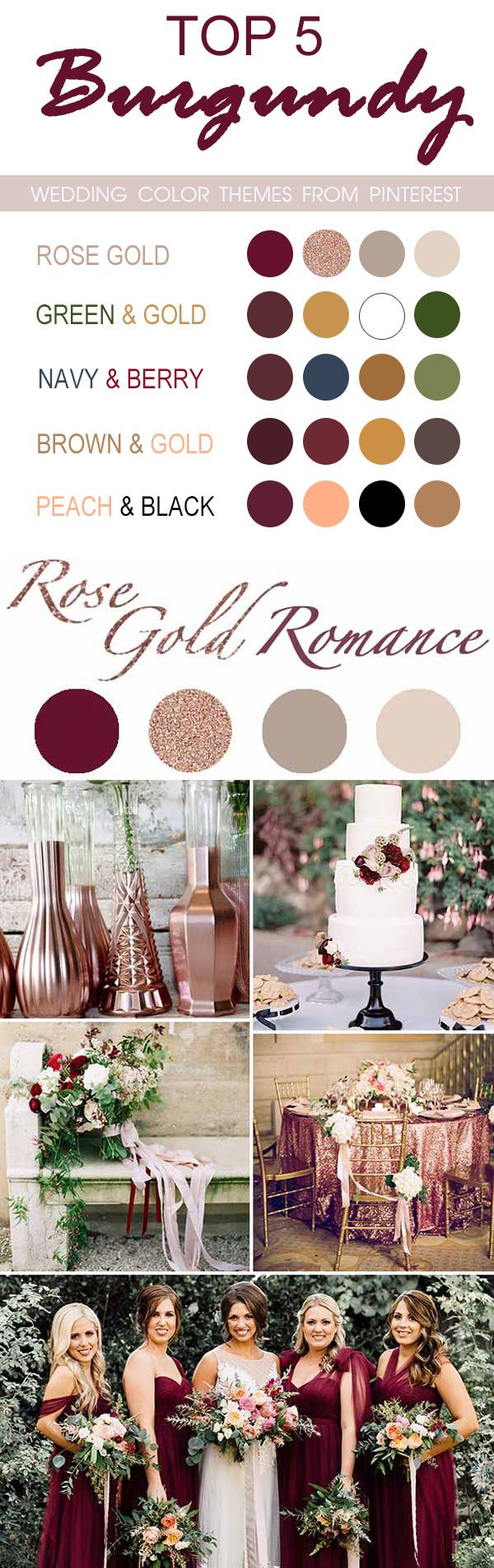 TOP 5 burgundy wedding color themes from pinterest for 2017