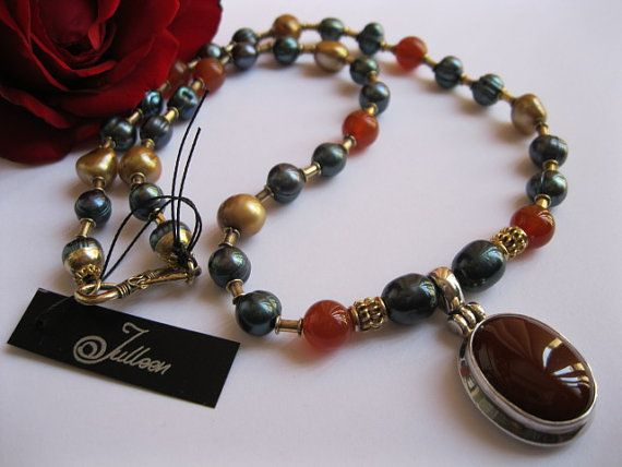 Carnelian Pendant and Pearl Necklace - A Christmas Treat