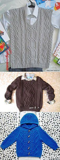 Жилет, жакеты и пуловер спицами для мальчика