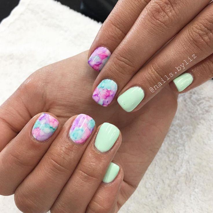"210 Likes, 7 Comments - Liz Henson (@nails.byliz) on Instagram: ""More watercolor and this mint!  . . . . #nails #gelnails #naturalnails #watercolornails…"""