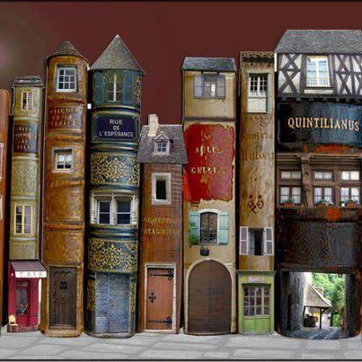 """mothra-has-moxie: """"herminehesse: """" Fairy Houses made from old books """" This is so great! """""""