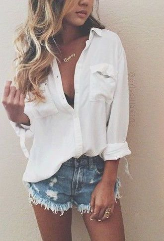 #summer #fashion / casual shirt + shorts
