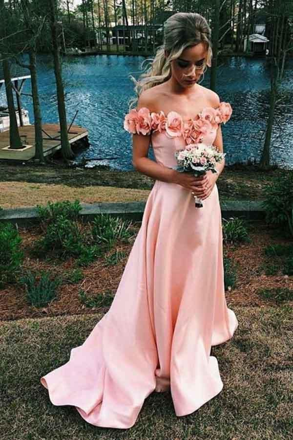 Off-the-Shoulder Sweep Train Pink Satin Prom Dress with Flowers PG474 #dresses#style#borntowear