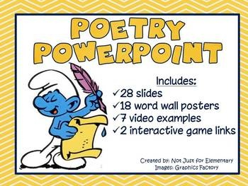 Poetry Powerpoint for Secondary w/ 7 Video Clips and 18 Word Wall Vocabulary Posters: * Poetry  * Alliteration  * Assonance  * Ballad  * Couplet  * Form  * Free Verse  * Haiku  * Limerick  * Lyric Poem  * Meter  * Narrative Poetry  * Ode  * Repetition  * Rhyme  * Rhythm  * Refrain  * Stanza