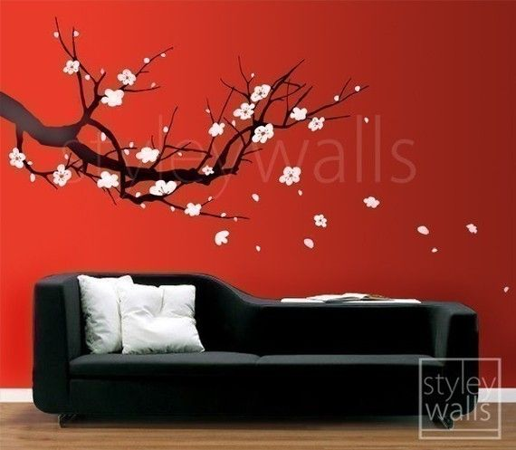 Wall Decal Cherry Blossom wall decals vinyl wall decals nursery wall decals Branch wall mural Plum Sakura Tree Wall Decal Home Decor Art