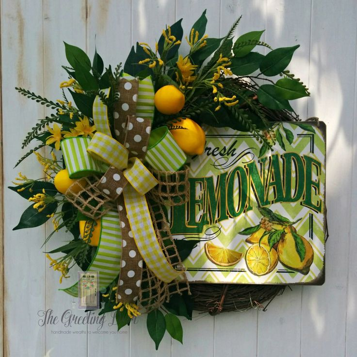 Spring Door Wreath Ideas Part - 28: Lemon Wreath, Kitchen Wreath, Front Door Wreath, Summer Wreath By  TheGreetingDoor On Etsy