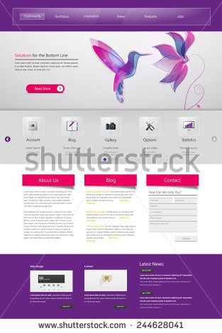 Professional Website Template for Your Business. Vector Eps, 10