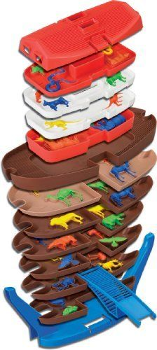 Tier Toys Stackers Noah's Ark by Tier Toys. $32.89. There are 12 layers of storage with 44 detailed animal figures 2 of each animal from Elephants to Giraffe, snakes to chickens along with Noah and his wife. The bottom of the ark has wheels for easy mobility. Noah's Ark is a multi-purpose play environment - shape sorter, puzzle and storage case. Includes bonus online download of games and story. Noah's ark is stacks of fun, fully patented with incredible play value. F...