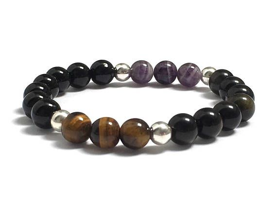 Chakra Bracelet with Amethysts, Onyx, Tiger Eyes, Obsidians Strength Balance, Protection, Healing Crystals, His and Her Couples Bracelets