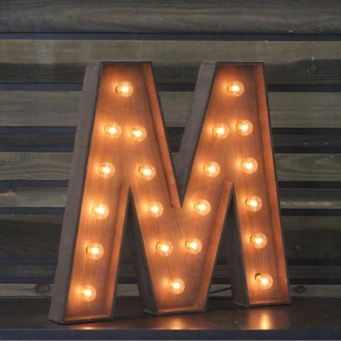 Edison marquee letter m includes 21 light bulbs x can be hung or standing